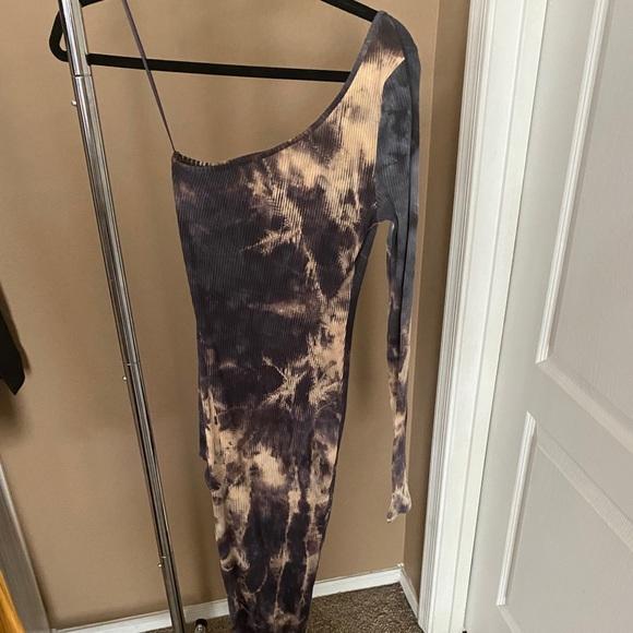 Off the should high slit dress